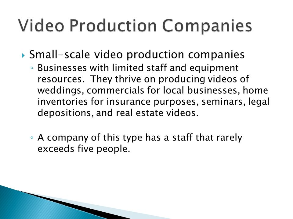 Small-scale video production companies Businesses with limited staff and equipment resources.