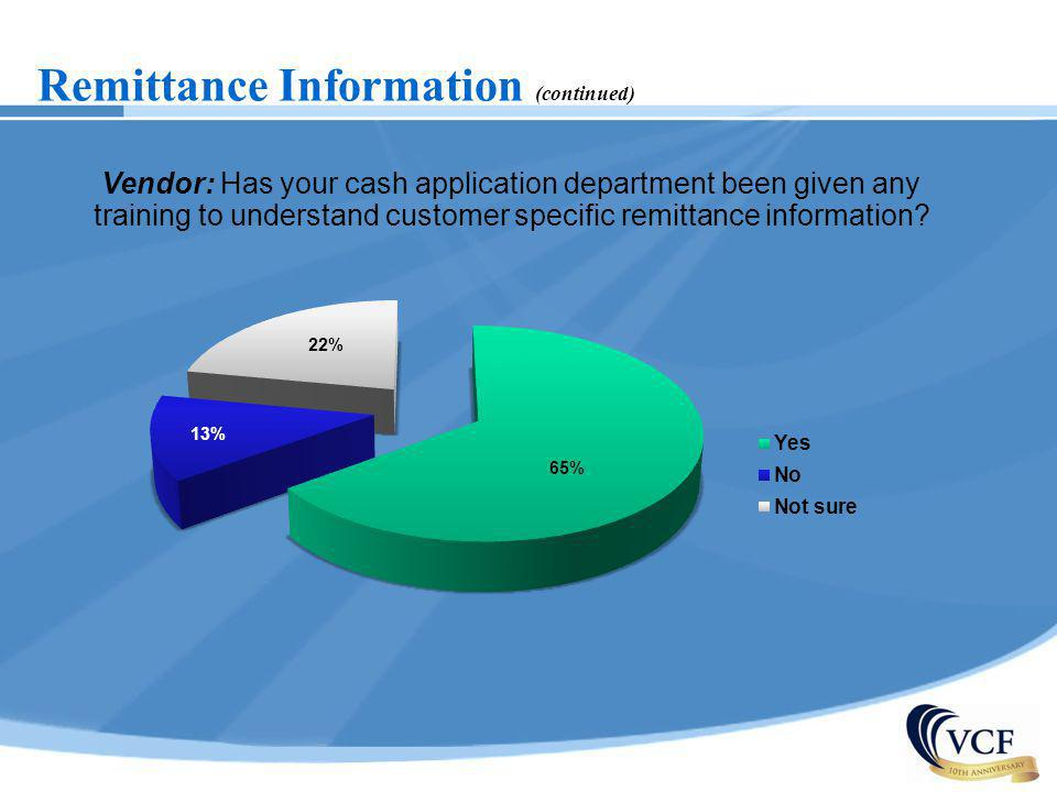 Remittance Information (continued) Vendor: Has your cash application department been given any training to understand customer specific remittance inf