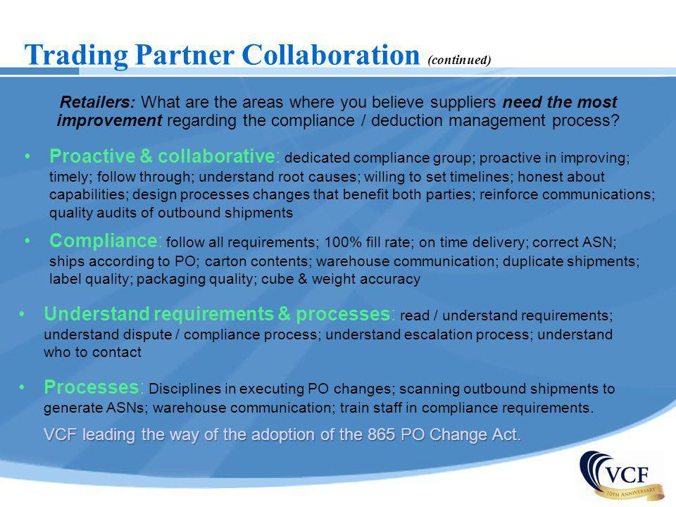 Trading Partner Collaboration (continued) Retailers: What are the areas where you believe suppliers need the most improvement regarding the compliance