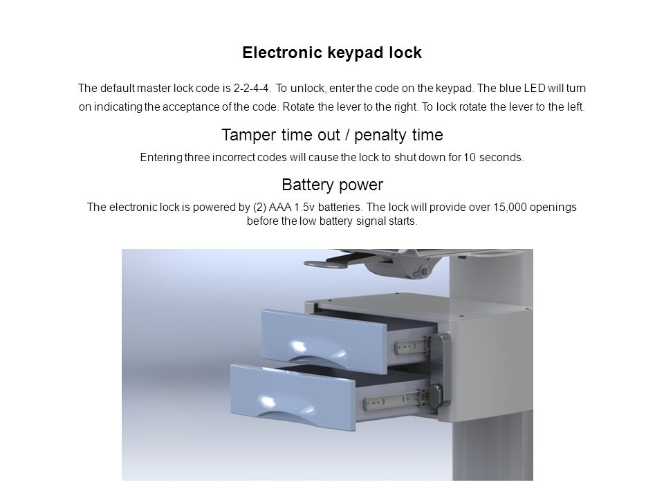 Electronic keypad lock The default master lock code is 2-2-4-4.