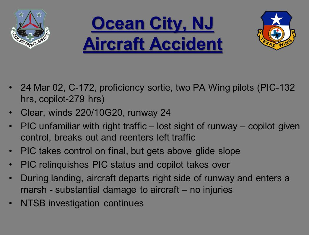 Ocean City, NJ Aircraft Accident 24 Mar 02, C-172, proficiency sortie, two PA Wing pilots (PIC-132 hrs, copilot-279 hrs) Clear, winds 220/10G20, runway 24 PIC unfamiliar with right traffic – lost sight of runway – copilot given control, breaks out and reenters left traffic PIC takes control on final, but gets above glide slope PIC relinquishes PIC status and copilot takes over During landing, aircraft departs right side of runway and enters a marsh - substantial damage to aircraft – no injuries NTSB investigation continues