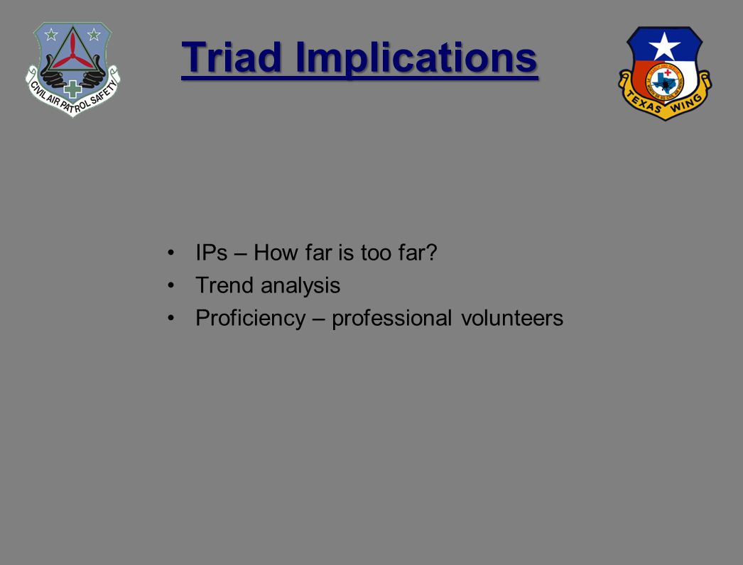 Triad Implications IPs – How far is too far Trend analysis Proficiency – professional volunteers