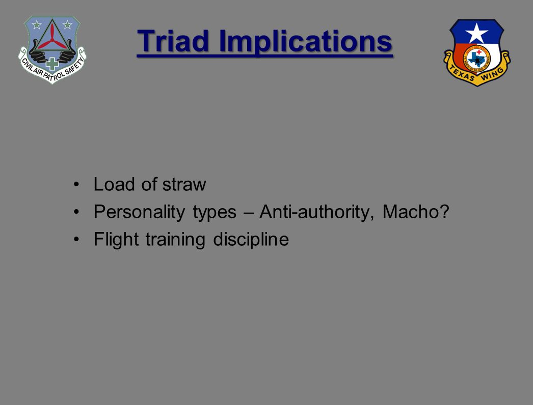 Triad Implications Load of straw Personality types – Anti-authority, Macho.