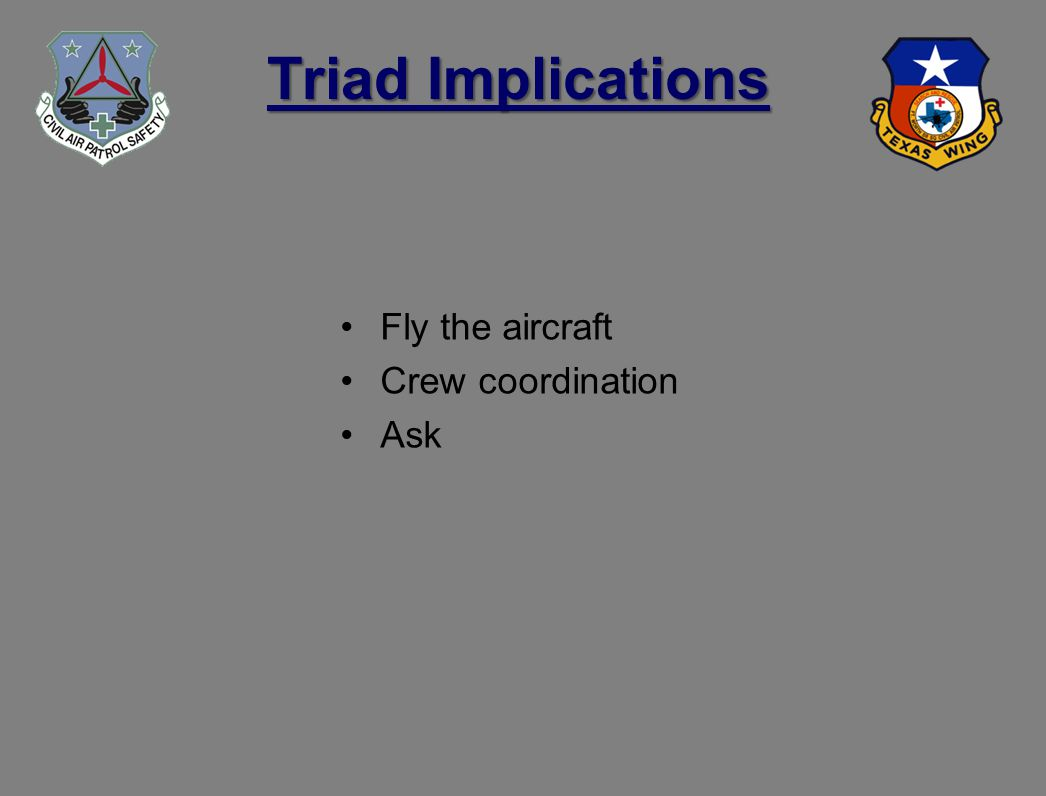 Triad Implications Fly the aircraft Crew coordination Ask