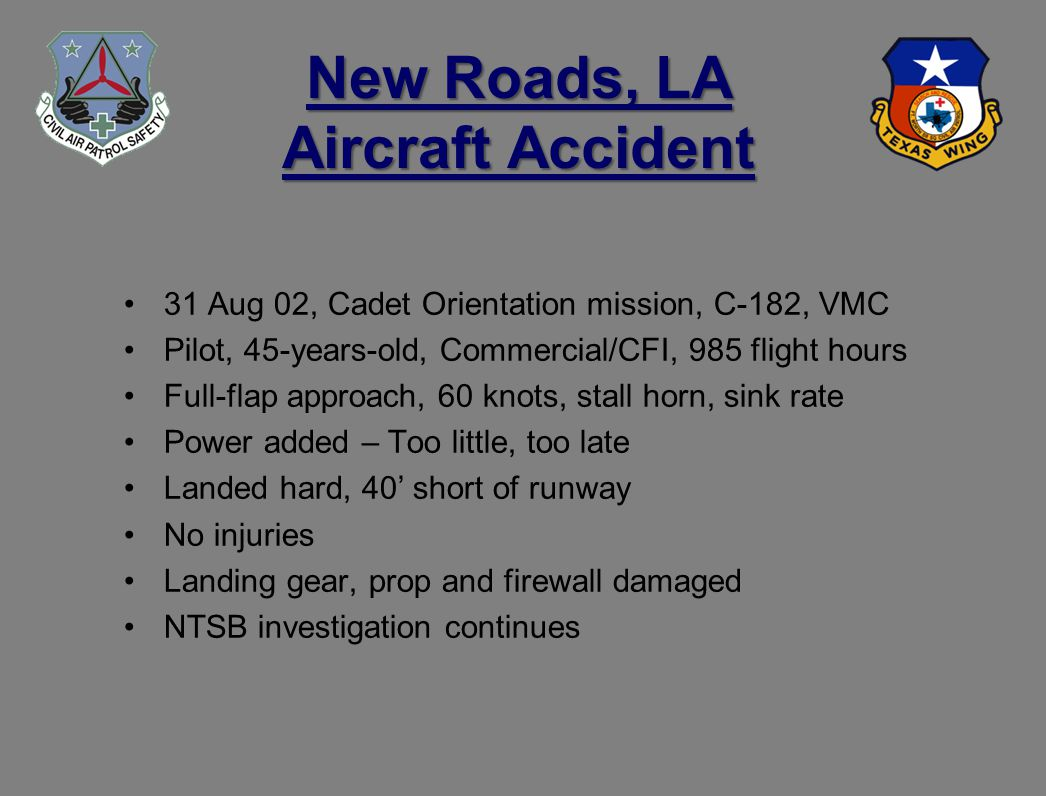 New Roads, LA Aircraft Accident 31 Aug 02, Cadet Orientation mission, C-182, VMC Pilot, 45-years-old, Commercial/CFI, 985 flight hours Full-flap approach, 60 knots, stall horn, sink rate Power added – Too little, too late Landed hard, 40 short of runway No injuries Landing gear, prop and firewall damaged NTSB investigation continues