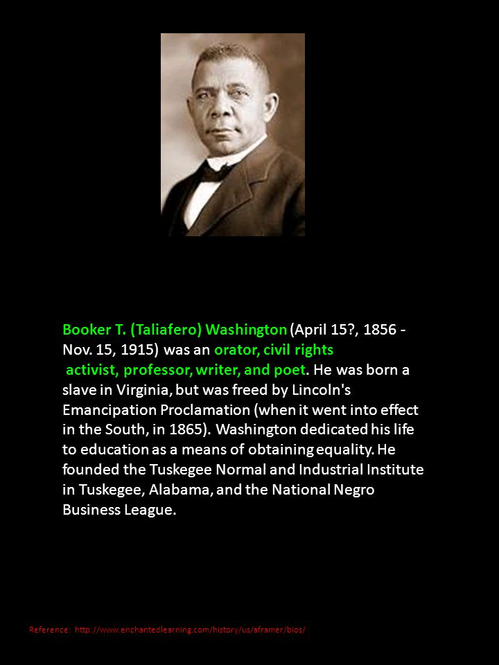 Booker T. (Taliafero) Washington (April 15?, 1856 - Nov. 15, 1915) was an orator, civil rights activist, professor, writer, and poet. He was born a sl