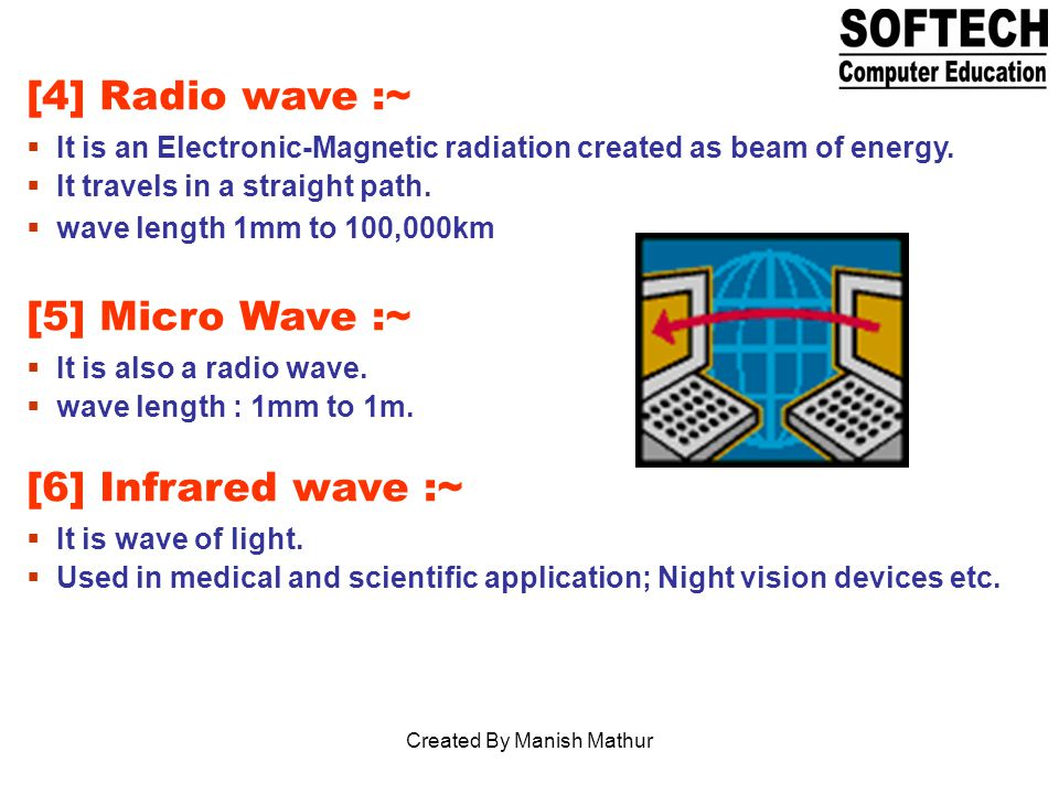 [4] Radio wave :~ It is an Electronic-Magnetic radiation created as beam of energy.