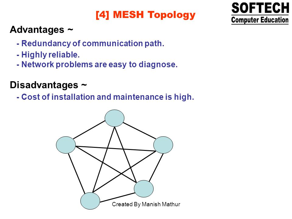 [4] MESH Topology Advantages ~ - Redundancy of communication path.