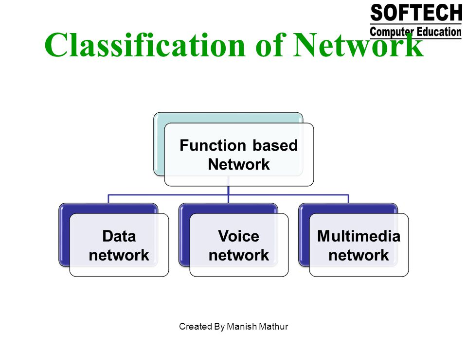 Function based Network Data network Voice network Multimedi a network Classification of Network Created By Manish Mathur
