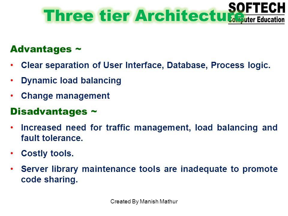 Advantages ~ Clear separation of User Interface, Database, Process logic.