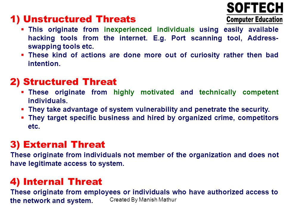 1) Unstructured Threats This originate from inexperienced individuals using easily available hacking tools from the internet.