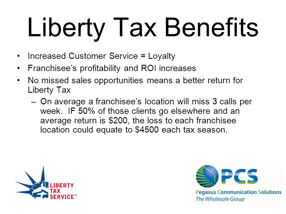 Liberty Tax Benefits Increased Customer Service = Loyalty Franchisees profitability and ROI increases No missed sales opportunities means a better return for Liberty Tax –On average a franchisees location will miss 3 calls per week.
