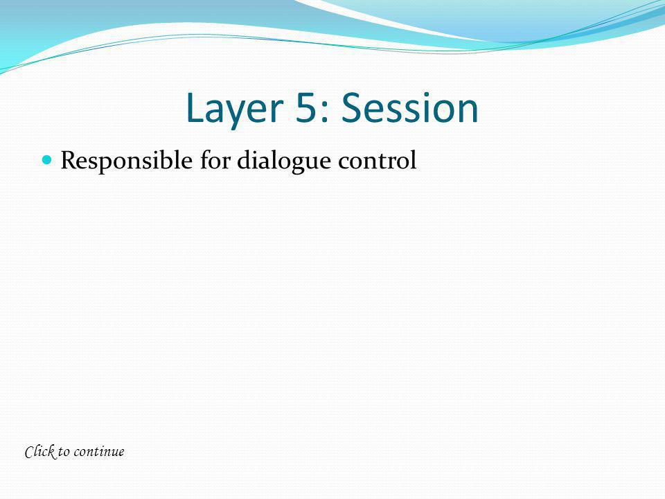 Click to continue Layer 5: Session Responsible for dialogue control