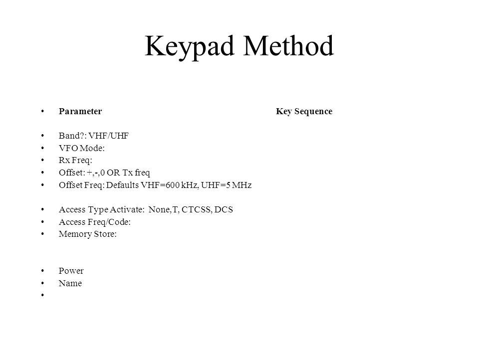 Keypad Method Parameter Key Sequence Band?: VHF/UHF VFO Mode: Rx Freq: Offset: +,-,0 OR Tx freq Offset Freq: Defaults VHF=600 kHz, UHF=5 MHz Access Ty