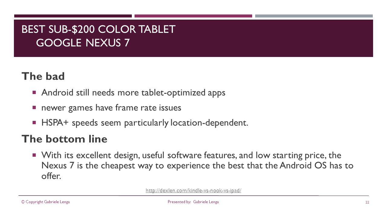 http://dexlen.com/kindle-vs-nook-vs-ipad/ BEST SUB-$200 COLOR TABLET GOOGLE NEXUS 7 The bad Android still needs more tablet-optimized apps newer games have frame rate issues HSPA+ speeds seem particularly location-dependent.