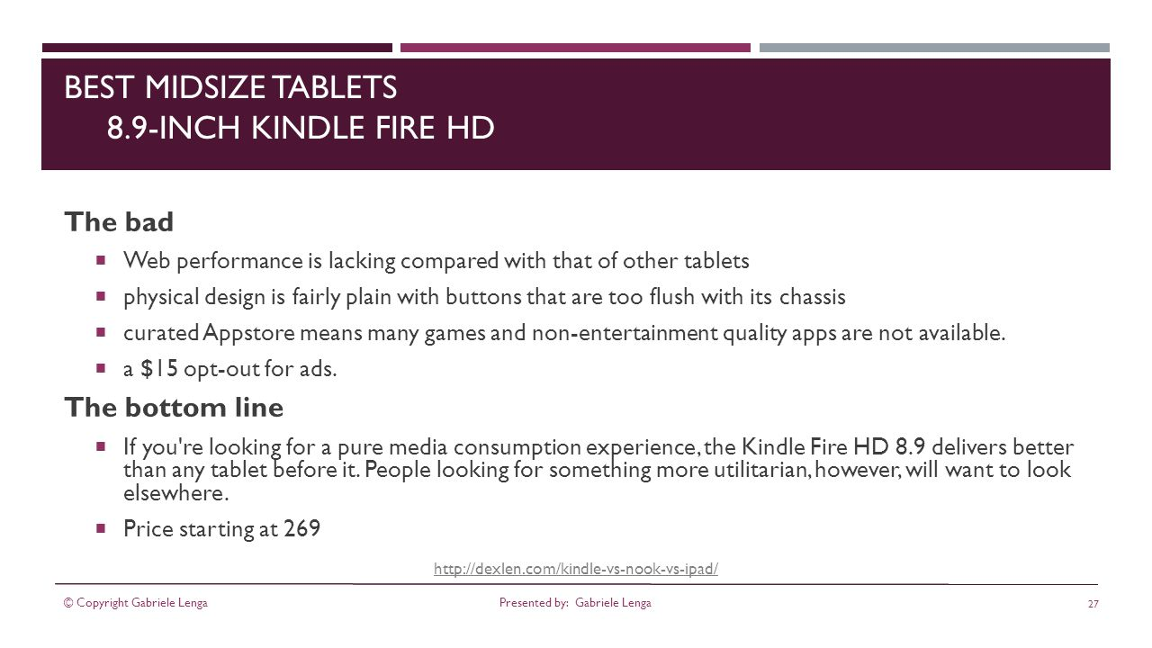 BEST MIDSIZE TABLETS 8.9-INCH KINDLE FIRE HD The bad Web performance is lacking compared with that of other tablets physical design is fairly plain with buttons that are too flush with its chassis curated Appstore means many games and non-entertainment quality apps are not available.