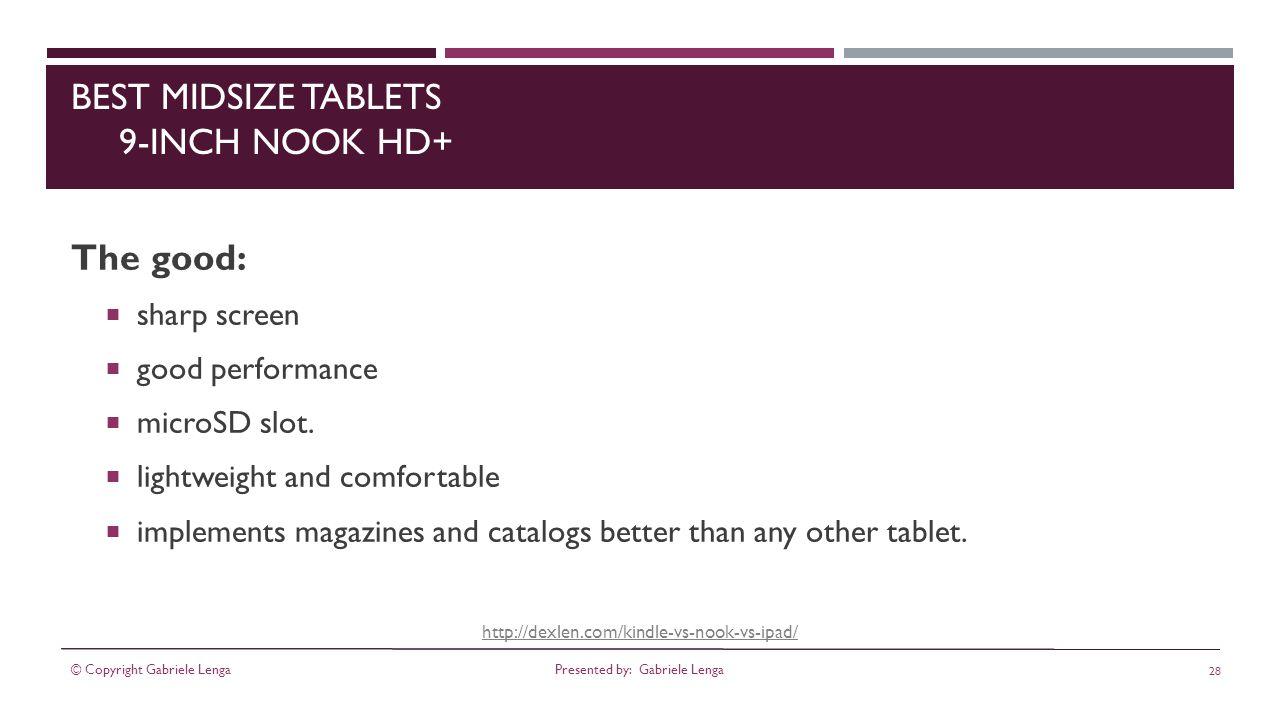 http://dexlen.com/kindle-vs-nook-vs-ipad/ BEST MIDSIZE TABLETS 9-INCH NOOK HD+ The good: sharp screen good performance microSD slot.