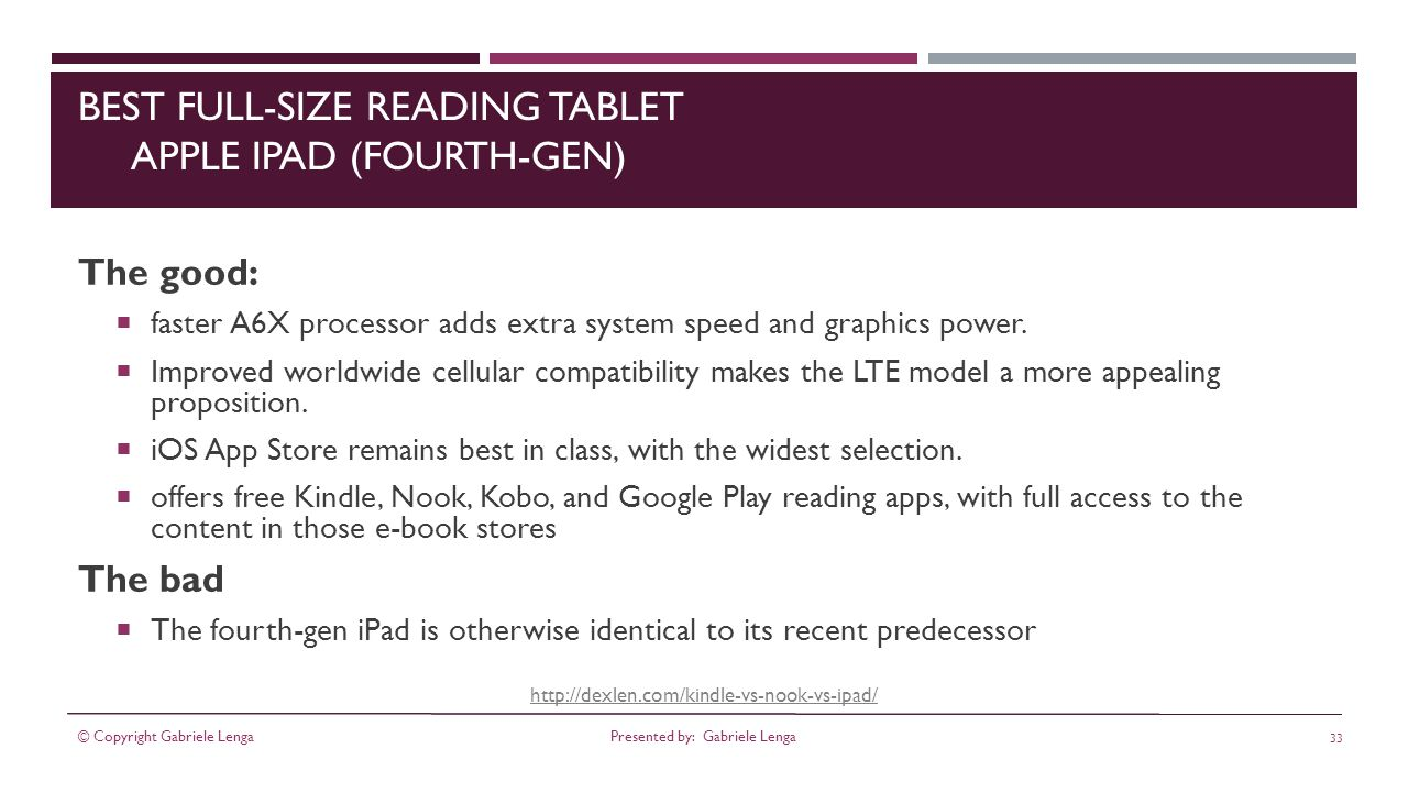 http://dexlen.com/kindle-vs-nook-vs-ipad/ BEST FULL-SIZE READING TABLET APPLE IPAD (FOURTH-GEN) The good: faster A6X processor adds extra system speed and graphics power.