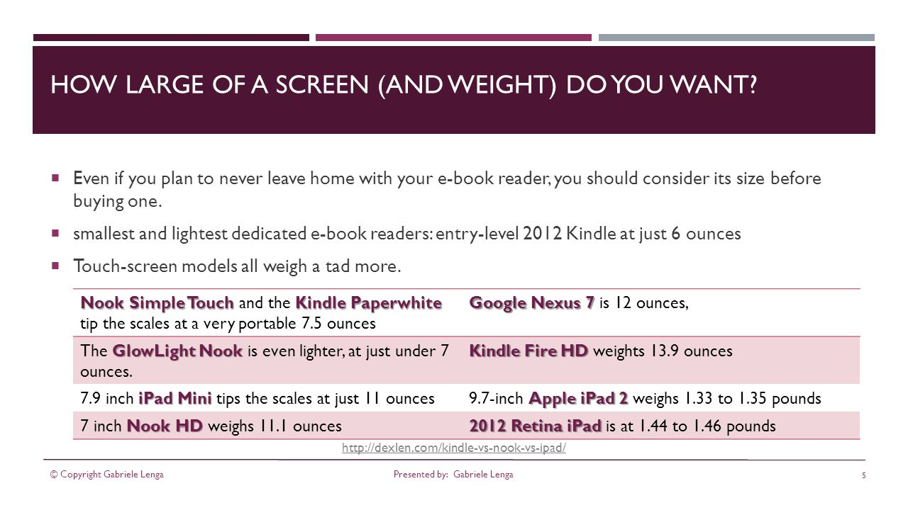 http://dexlen.com/kindle-vs-nook-vs-ipad/ HOW LARGE OF A SCREEN (AND WEIGHT) DO YOU WANT.