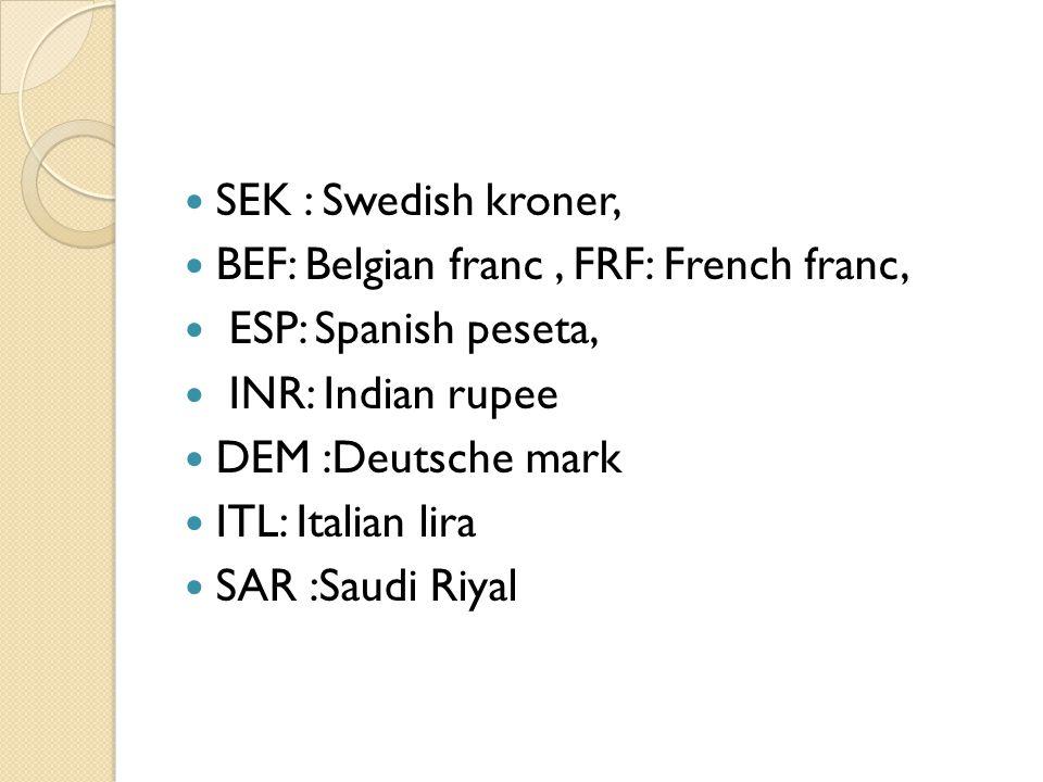 SEK : Swedish kroner, BEF: Belgian franc, FRF: French franc, ESP: Spanish peseta, INR: Indian rupee DEM :Deutsche mark ITL: Italian lira SAR :Saudi Riyal