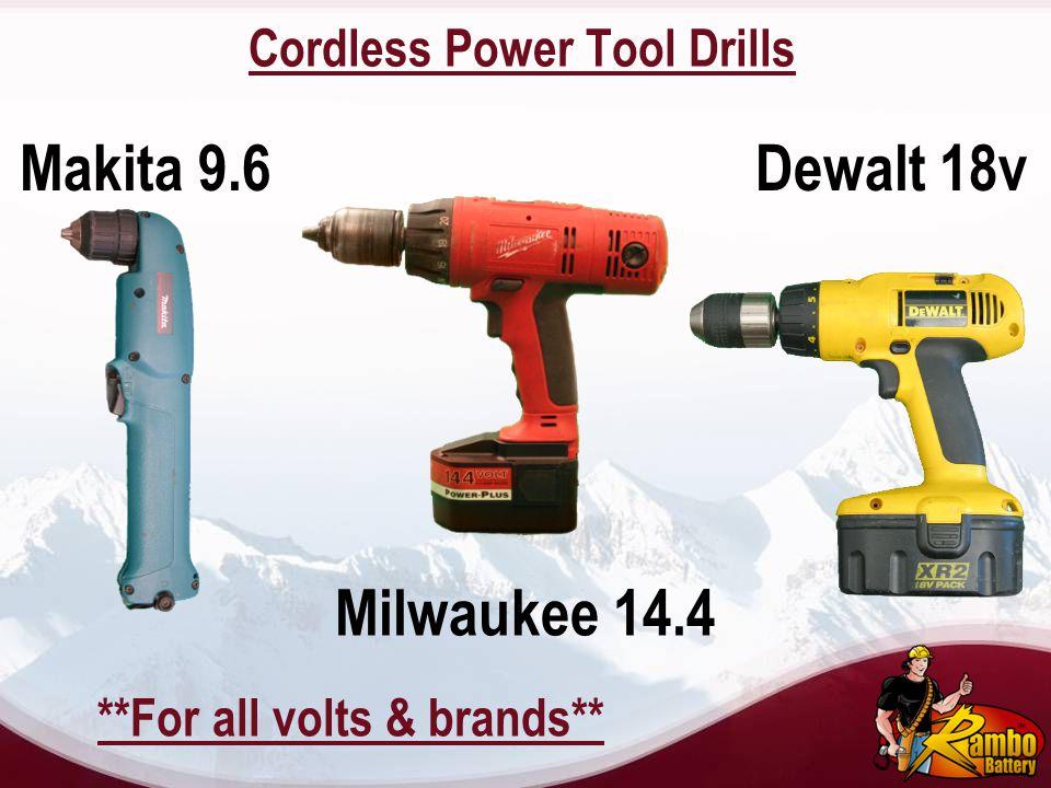 Cordless Power Tool Drills Dewalt 18v Milwaukee 14.4 Makita 9.6 **For all volts & brands**