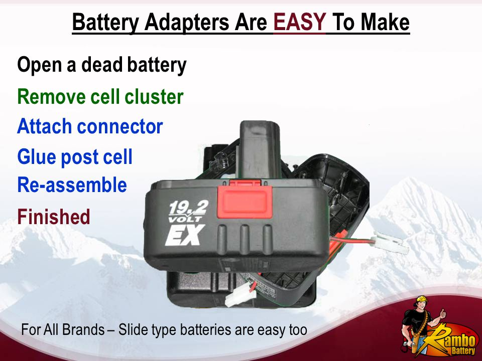 Battery Adapters Are EASY To Make Open a dead battery Remove cell cluster Attach connector Glue post cell Re-assemble Finished For All Brands – Slide
