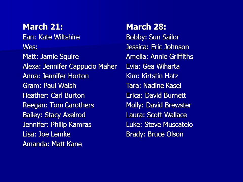 March 21: Ean: Kate Wiltshire Wes: Matt: Jamie Squire Alexa: Jennifer Cappucio Maher Anna: Jennifer Horton Gram: Paul Walsh Heather: Carl Burton Reega