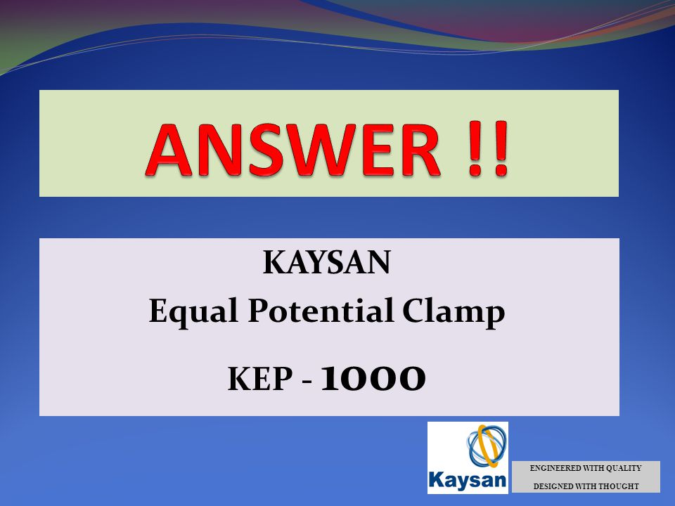 KAYSAN Equal Potential Clamp KEP - 1000 ENGINEERED WITH QUALITY DESIGNED WITH THOUGHT