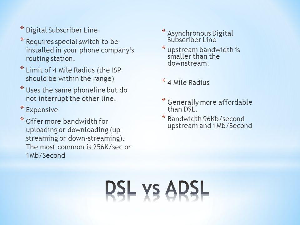 * Digital Subscriber Line.
