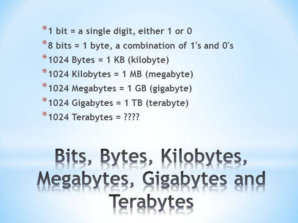 * 1 bit = a single digit, either 1 or 0 * 8 bits = 1 byte, a combination of 1 s and 0 s * 1024 Bytes = 1 KB (kilobyte) * 1024 Kilobytes = 1 MB (megabyte) * 1024 Megabytes = 1 GB (gigabyte) * 1024 Gigabytes = 1 TB (terabyte) * 1024 Terabytes =