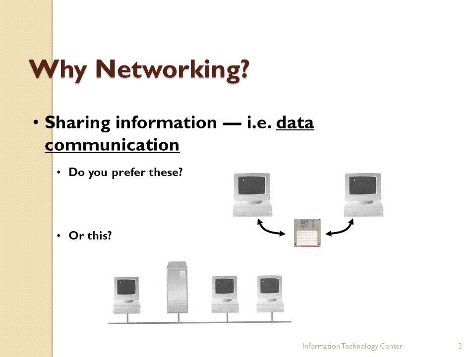 3 Why Networking? Sharing information i.e. data communication Do you prefer these? Or this?