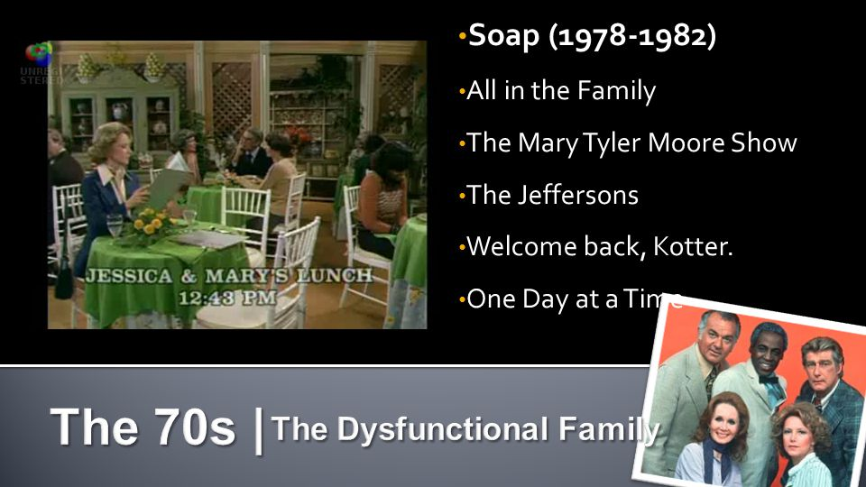 Soap (1978-1982) All in the Family The Mary Tyler Moore Show The Jeffersons Welcome back, Kotter.