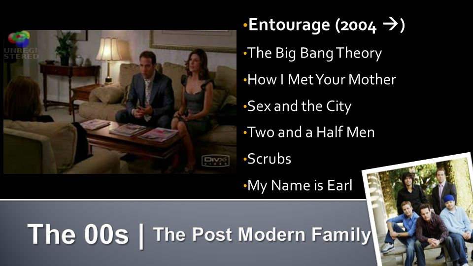 Entourage (2004 ) The Big Bang Theory How I Met Your Mother Sex and the City Two and a Half Men Scrubs My Name is Earl