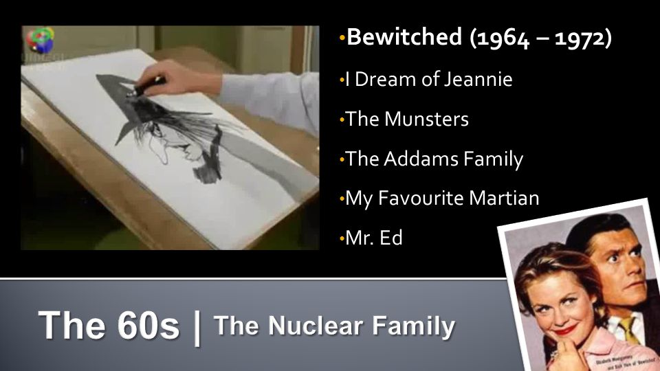 Bewitched (1964 – 1972) Bewitched (1964 – 1972) I Dream of Jeannie I Dream of Jeannie The Munsters The Munsters The Addams Family The Addams Family My Favourite Martian My Favourite Martian Mr.