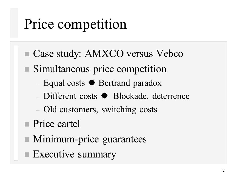 3 Example: AMXCO versus Vebco n Cooler pads, used in air conditioning equipment, traditionally made by hand.