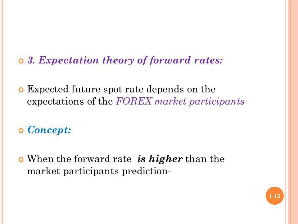 3. Expectation theory of forward rates: Expected future spot rate depends on the expectations of the FOREX market participants Concept: When the forwa