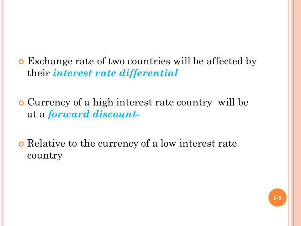Exchange rate(forward& spot) differential will be equal to the interest rate differential between two countries Interest differential=exchange rate(F&S)differential 1+rf = f F/D 1+rd s F/D 1-6