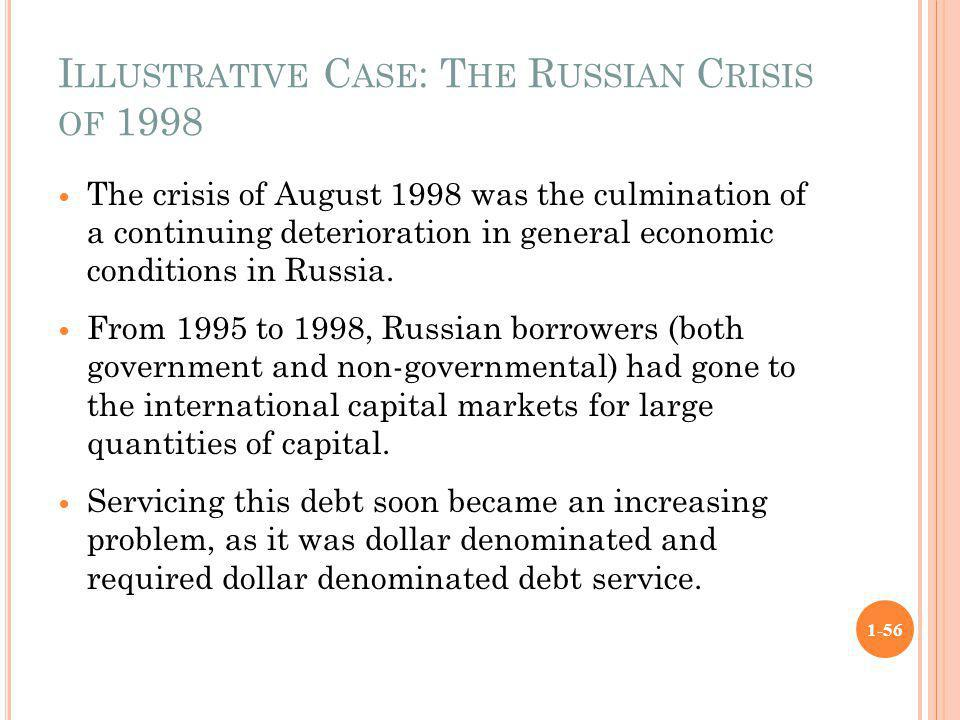 I LLUSTRATIVE C ASE : T HE R USSIAN C RISIS OF 1998 The crisis of August 1998 was the culmination of a continuing deterioration in general economic co