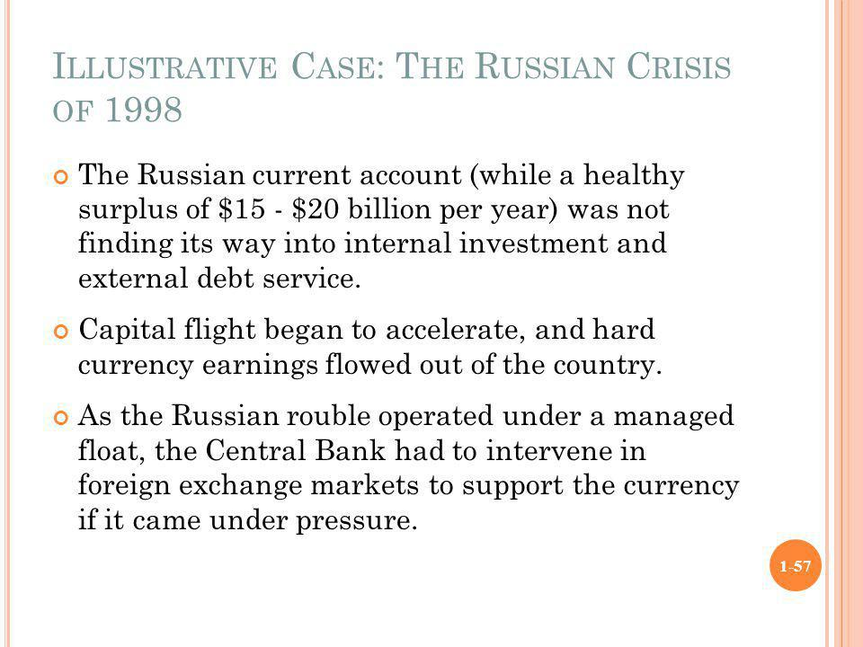I LLUSTRATIVE C ASE : T HE R USSIAN C RISIS OF 1998 The Russian current account (while a healthy surplus of $15 - $20 billion per year) was not findin