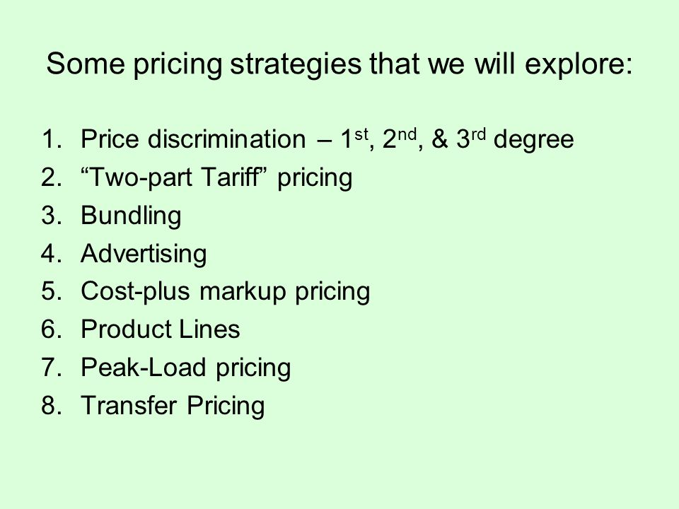 2 nd Degree Price Discrimination: Block Pricing Price is based on volume of usage of the good.