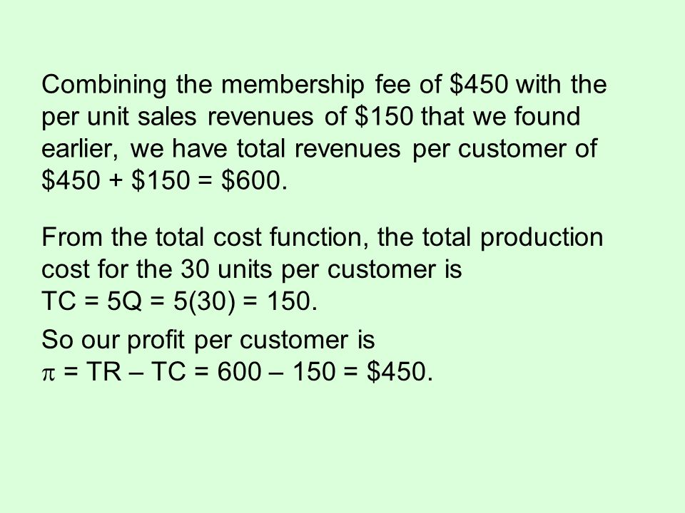 Combining the membership fee of $450 with the per unit sales revenues of $150 that we found earlier, we have total revenues per customer of $450 + $15