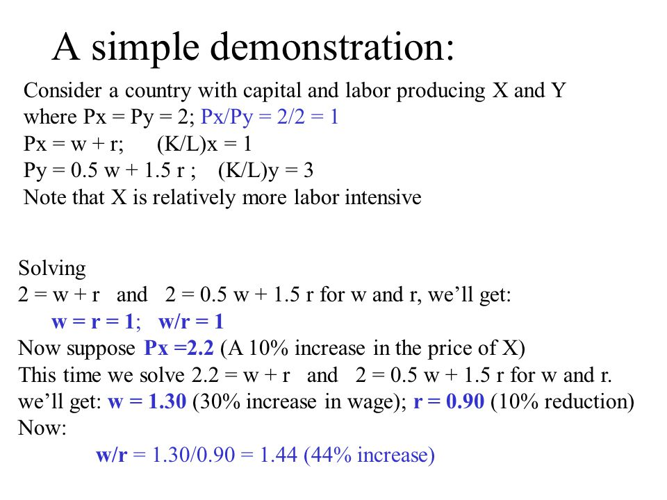 A simple demonstration: Consider a country with capital and labor producing X and Y where Px = Py = 2; Px/Py = 2/2 = 1 Px = w + r; (K/L)x = 1 Py = 0.5 w + 1.5 r ; (K/L)y = 3 Note that X is relatively more labor intensive Solving 2 = w + r and 2 = 0.5 w + 1.5 r for w and r, well get: w = r = 1; w/r = 1 Now suppose Px =2.2 (A 10% increase in the price of X) This time we solve 2.2 = w + r and 2 = 0.5 w + 1.5 r for w and r.