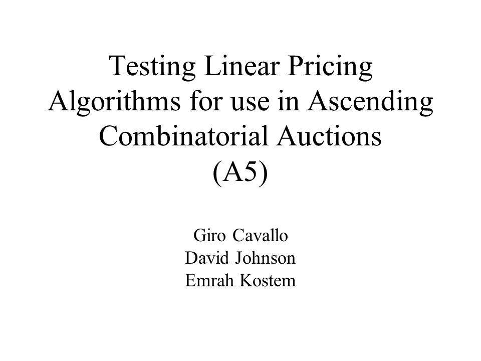 Motivations for Linear Pricing Combinatorial ascending proxy auctions translate to non-linear and non-anonymous pricing While a non-linear auction achieves an efficient outcome at minimum competitive equilibrium prices, it is not necessarily the most time efficient Price feedback in ascending proxy auctions is highly specific, making determination of individual items in a combinatorial setting difficult