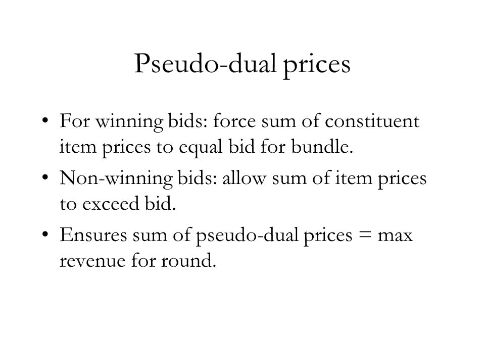 Pseudo-dual price constraints