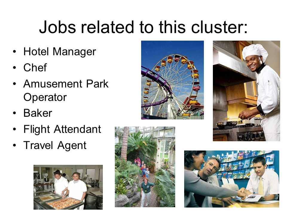Jobs related to this cluster: Hotel Manager Chef Amusement Park Operator Baker Flight Attendant Travel Agent