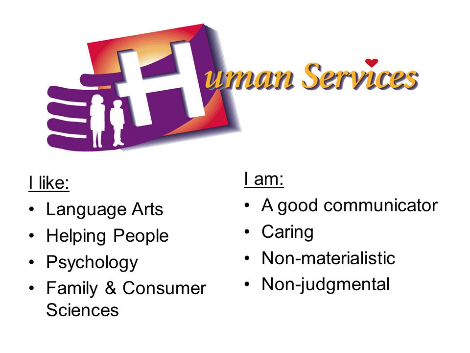 I like: Language Arts Helping People Psychology Family & Consumer Sciences I am: A good communicator Caring Non-materialistic Non-judgmental