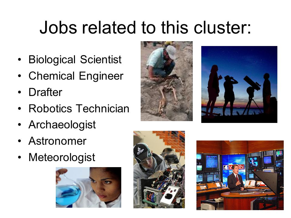 Jobs related to this cluster: Biological Scientist Chemical Engineer Drafter Robotics Technician Archaeologist Astronomer Meteorologist