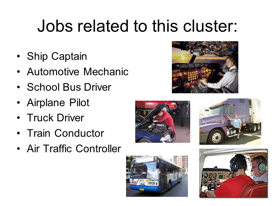 Jobs related to this cluster: Ship Captain Automotive Mechanic School Bus Driver Airplane Pilot Truck Driver Train Conductor Air Traffic Controller