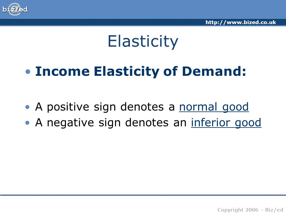 http://www.bized.co.uk Copyright 2006 – Biz/ed Elasticity Income Elasticity of Demand: A positive sign denotes a normal good A negative sign denotes an inferior good