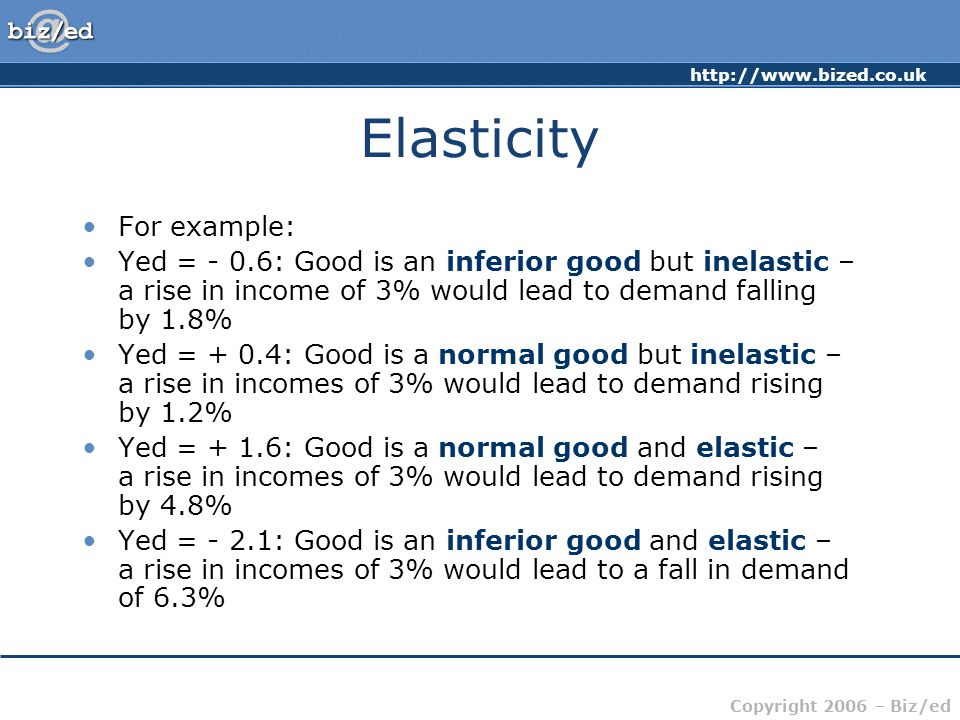 http://www.bized.co.uk Copyright 2006 – Biz/ed Elasticity For example: Yed = - 0.6: Good is an inferior good but inelastic – a rise in income of 3% would lead to demand falling by 1.8% Yed = + 0.4: Good is a normal good but inelastic – a rise in incomes of 3% would lead to demand rising by 1.2% Yed = + 1.6: Good is a normal good and elastic – a rise in incomes of 3% would lead to demand rising by 4.8% Yed = - 2.1: Good is an inferior good and elastic – a rise in incomes of 3% would lead to a fall in demand of 6.3%
